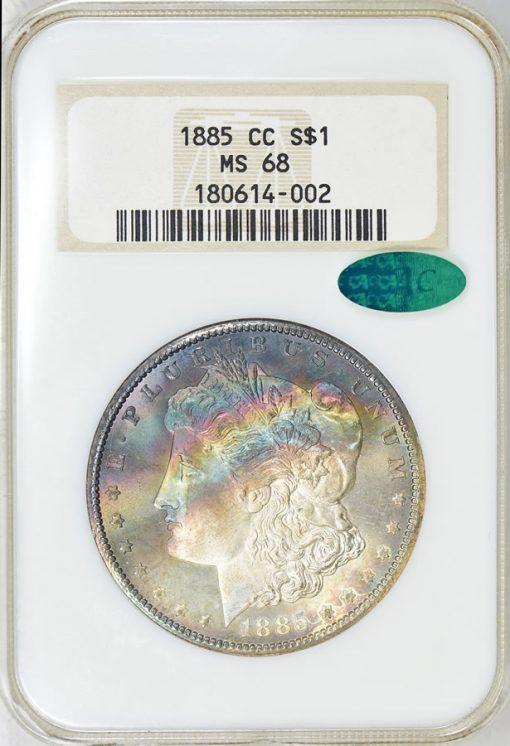 1885-CC Morgan Silver Dollar NGC MS-68 CAC OH (Toned)