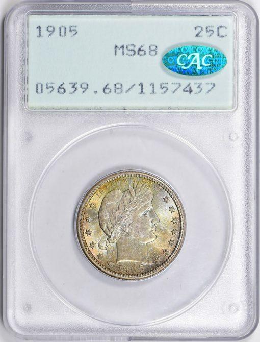 1905 Barber Quarter PCGS MS-68 CAC OGH (1st Gen) (Toned)