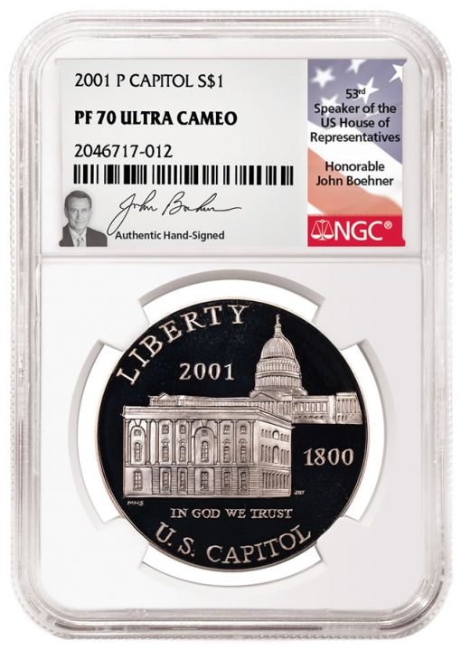2001-P Capitol Silver Dollar PF 70 Ultra Cameo Boehner Hand-Signed
