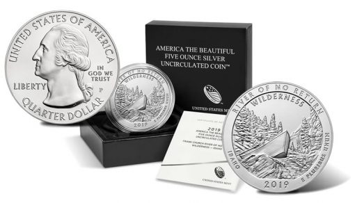 2019-P Frank Church River of No Return Wilderness Five Ounce Silver Uncirculated Coin - Sides and Packaging
