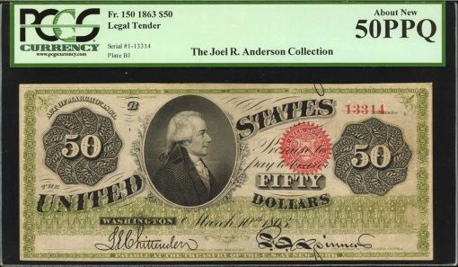 Fr. 150. 1863 $50 Legal Tender Note. PCGS Currency About New 50 PPQ