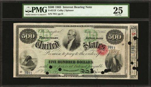 Fr. 212f. 1865 $500 Interest Bearing Note. PMG Very Fine 25
