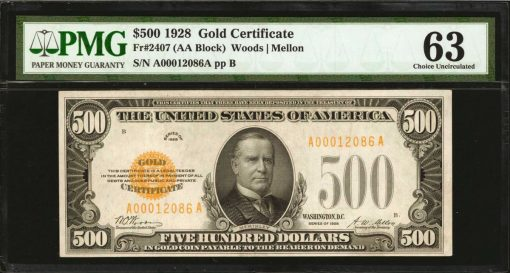 Fr. 2407. 1928 $500 Gold Certificate. PMG Choice Uncirculated 63
