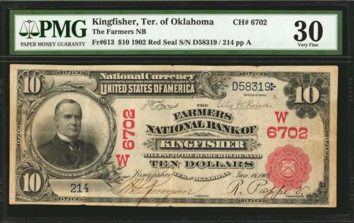 Kingfisher, Territory of Oklahoma. $10 1902 Red Seal. Fr. 613