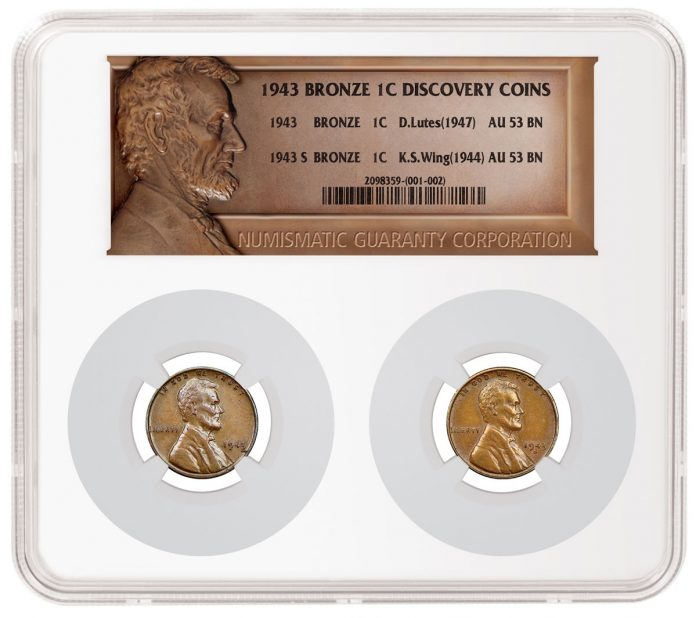 Lutes and Wing 1943 Bronze Lincoln Cents in NGC Holder (obverses)