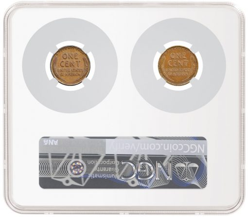 Lutes and Wing 1943 Bronze Lincoln Cents in NGC Holder (reverses)