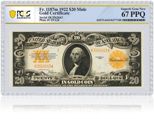 PCGS Banknote rendering of Gold Certificate