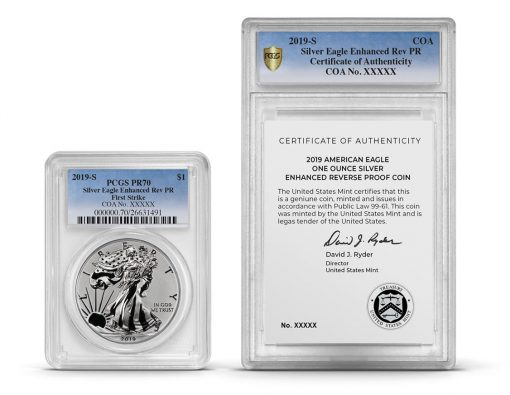 PCGS dual Silver Eagle and COA encapsulation