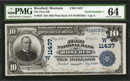 Rosebud, Montana. $10 1902 Plain Back. Fr. 632. The First NB