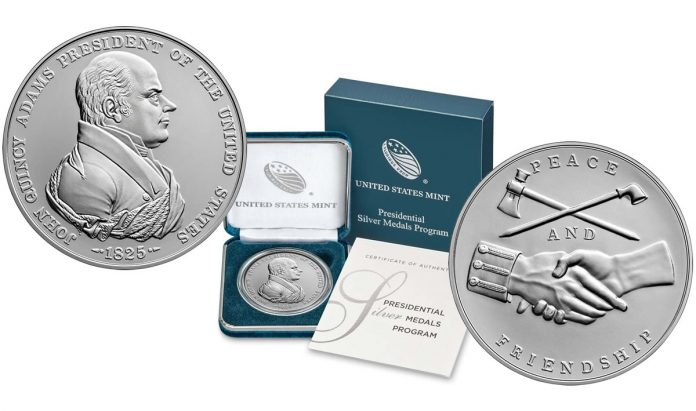 U.S. Mint product images for the John Quincy Adams Presidential Silver Medal