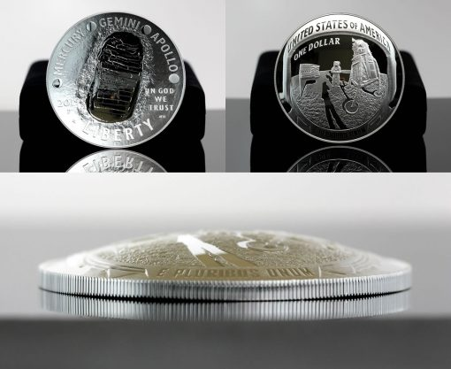 2019-P Proof Apollo 11 50th Anniversary Five Ounce Silver Dollar - Both Sides and Dome
