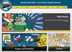 Screen grab of U.S. Mint's Kids Site