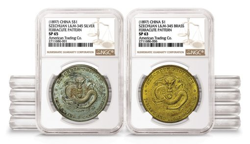 Two NGC-certified coins from 1897 Szechuan Ferracute Pattern Set