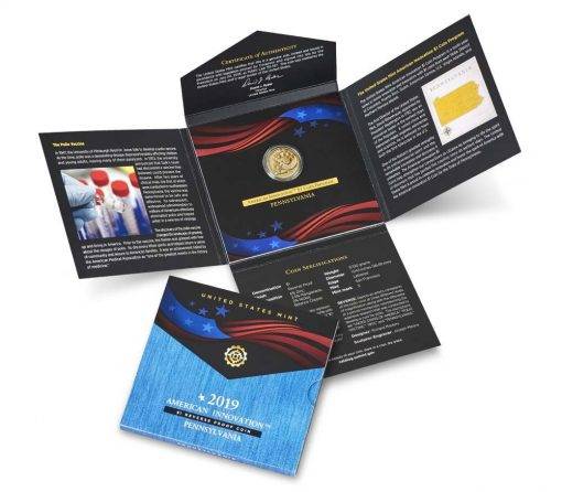 U.S. Mint image 2019-S Reverse Proof Pennsylvania American Innovation Dollar and Packaging