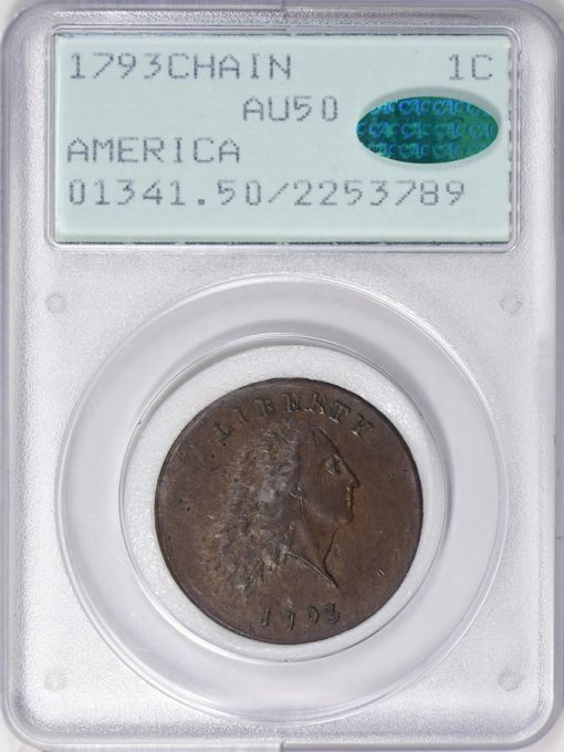 1793 Chain Cent AMERICA PCGS AU-50 CAC realized $171,562