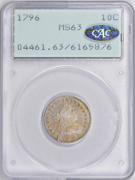 1796 Draped Bust Dime PCGS MS-63 CAC realized $92,812
