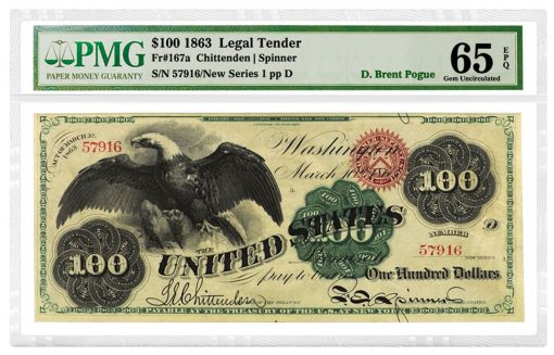 1863 'Spread Eagle' $100 Legal Tender Note, Fr. 167a, is graded PMG 65 Gem Uncirculated EPQ