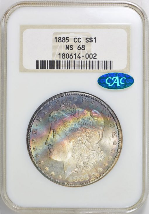 1885-CC Morgan Silver Dollar NGC MS-68 CAC realized $81,562