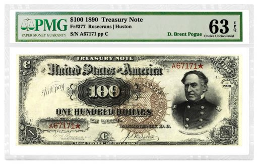 1890 Watermelon $100 Treasury Note, Fr. 377, is graded PMG 63 Choice Uncirculated EPQ