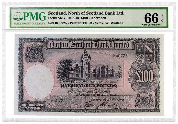 1938-49 100 Scotland North ofScotland Bank Aberdeen note