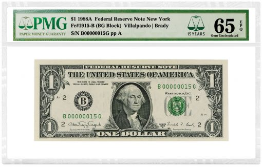 1988A $1 Federal Reserve Note New York, graded PMG Gem Uncirculated 65 EPQ