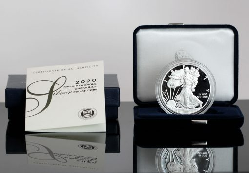 2020-W Proof American Silver Eagle, Presentation Case and Cert