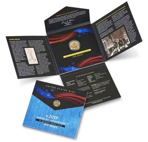 U.S. Mint image 2019-S Reverse Proof New Jersey American Innovation Dollar and Packaging