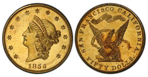 1855 Kellogg $50 PCGS PR64 Cameo