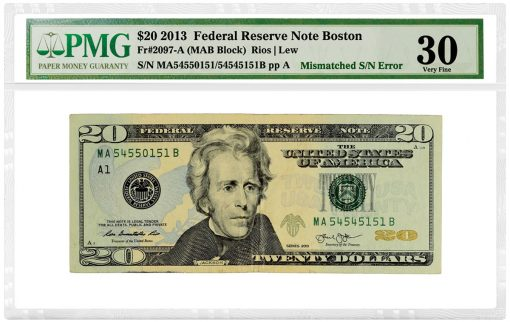 2013 $20 Federal Reserve Note Boston Mismatched Serial Number