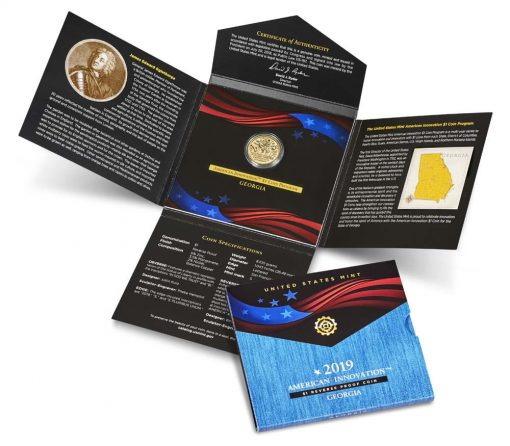 U.S. Mint image 2019-S Reverse Proof Georgia American Innovation Dollar and Packaging