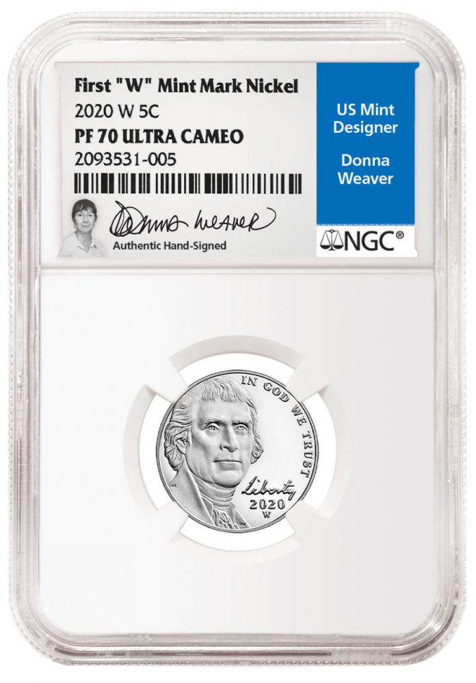 Weaver-Signed NGC Label for 2020-W Nickel