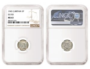 NGC-Certified 1945 Silver Threepence Sells for £62,000