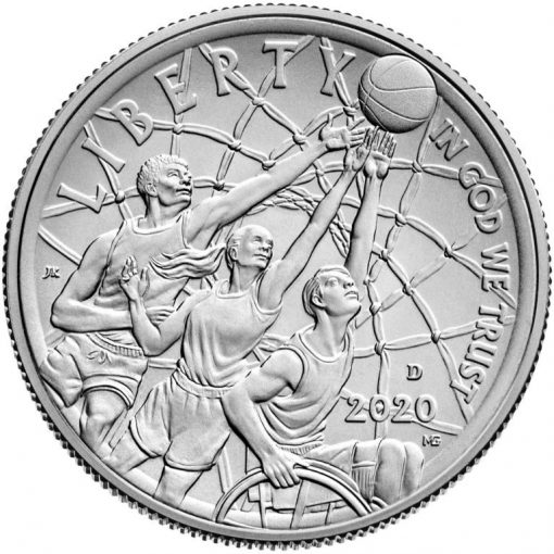 2020-D Uncirculated Basketball Hall of Fame Half Dollar - Obverse