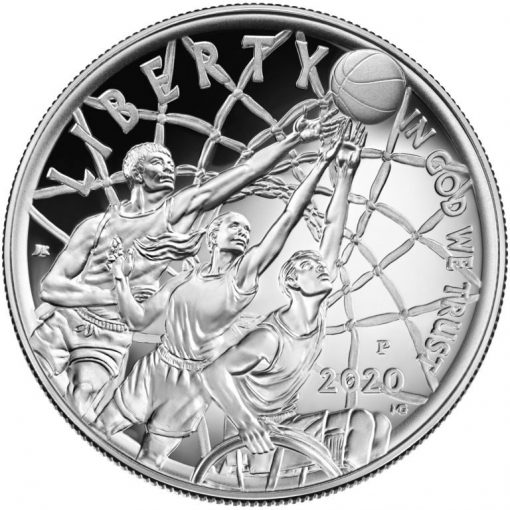 2020-P Proof Basketball Hall of Fame Silver Dollar - Obverse