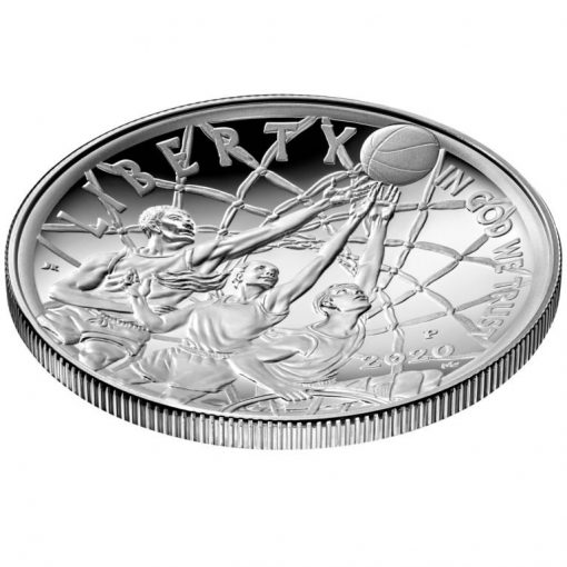 2020-P Proof Basketball Hall of Fame Silver Dollar - Obverse Angle