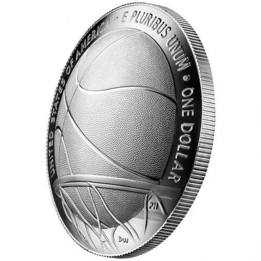 2020-P Proof Basketball Hall of Fame Silver Dollar - Reverse Angle