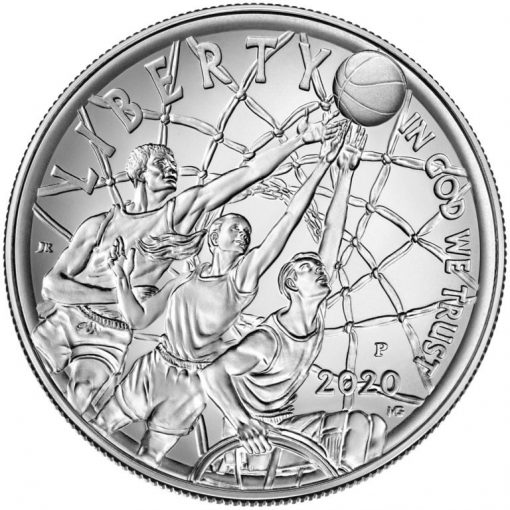 2020-P Uncirculated Basketball Hall of Fame Silver Dollar - Obverse