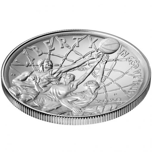 2020-P Uncirculated Basketball Hall of Fame Silver Dollar - Obverse Angle