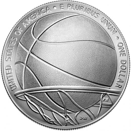 2020-P Uncirculated Basketball Hall of Fame Silver Dollar - Reverse