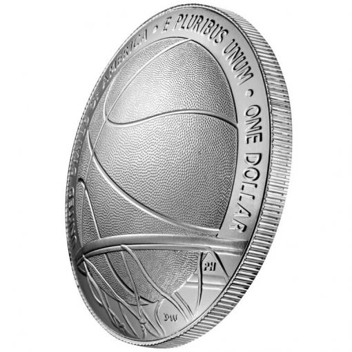 2020-P Uncirculated Basketball Hall of Fame Silver Dollar - Reverse Angle