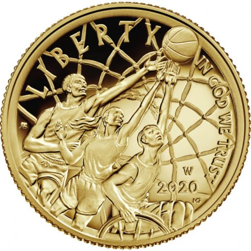 2020-W Proof Basketball Hall of Fame $5 Gold Coin - Obverse