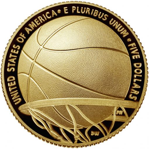 2020-W Proof Basketball Hall of Fame $5 Gold Coin - Reverse