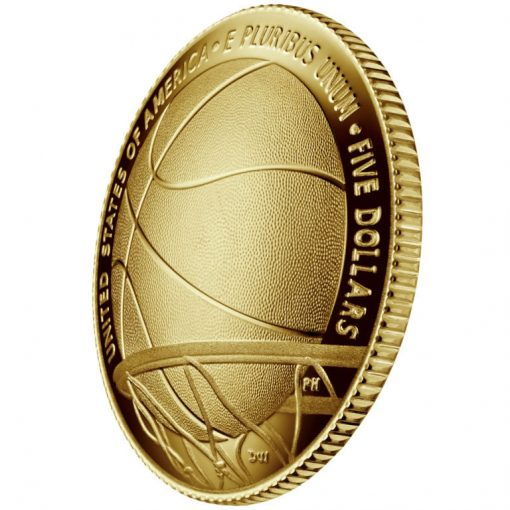 2020-W Proof Basketball Hall of Fame $5 Gold Coin - Reverse Angle