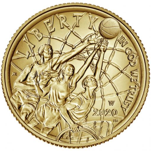 2020-W Uncirculated Basketball Hall of Fame $5 Gold Coin - Obverse
