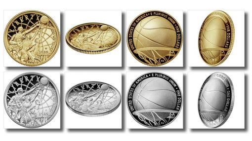 Images of 2020 Basketball Hall of Fame Commemorative Coins