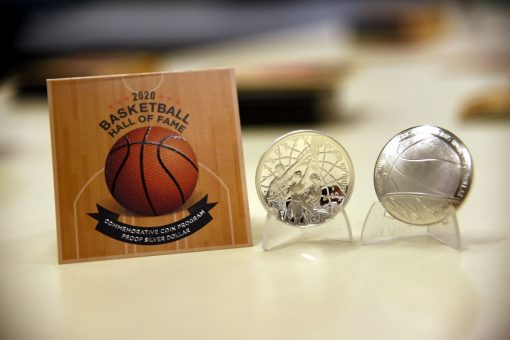Newly struck 2020 Proof Basketball Silver Dollar