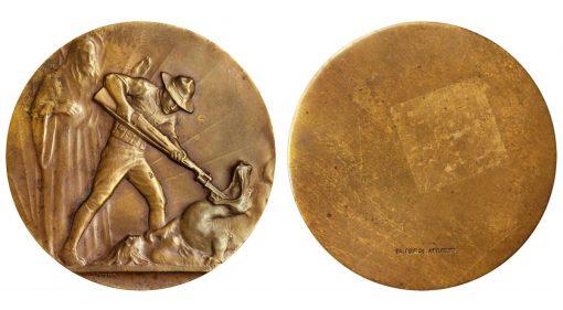 U. S. Soldier Battling Dragon Uniface Bronze Medal, ND (1917)