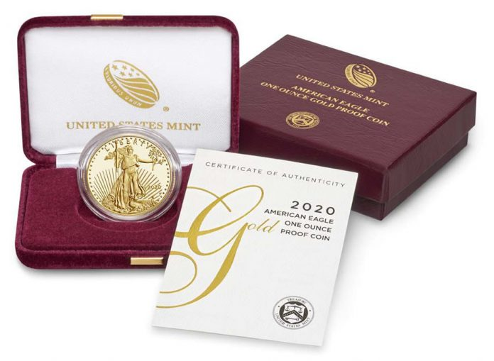 US Mint image 2020-W $50 Proof American Gold Eagle and packaging