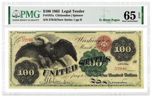 """1863 $100 """"Spread Eagle"""" Legal Tender note graded PMG 65 Gem Uncirculated EPQ"""