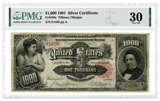 """1891 $1,000 """"Marcy"""" Silver Certificate, attributed as Friedberg-346e and graded PMG 30 Very Fine"""
